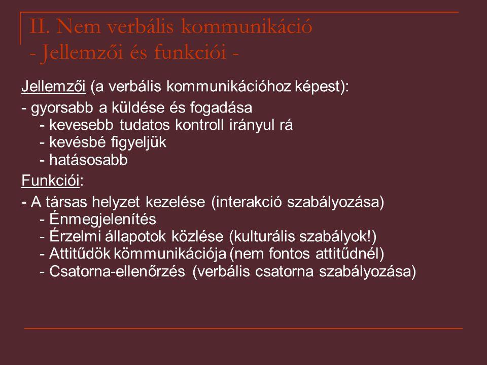II. Nem verbális kommunikáció - Jellemzői és funkciói - Jellemzői (a verbális kommunikációhoz képest): - gyorsabb a küldése és fogadása - kevesebb tud