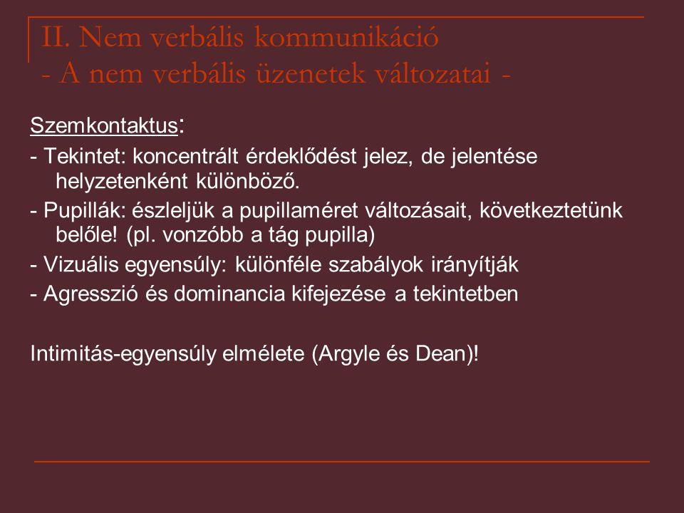 II. Nem verbális kommunikáció - A nem verbális üzenetek változatai - Szemkontaktus : - Tekintet: koncentrált érdeklődést jelez, de jelentése helyzeten