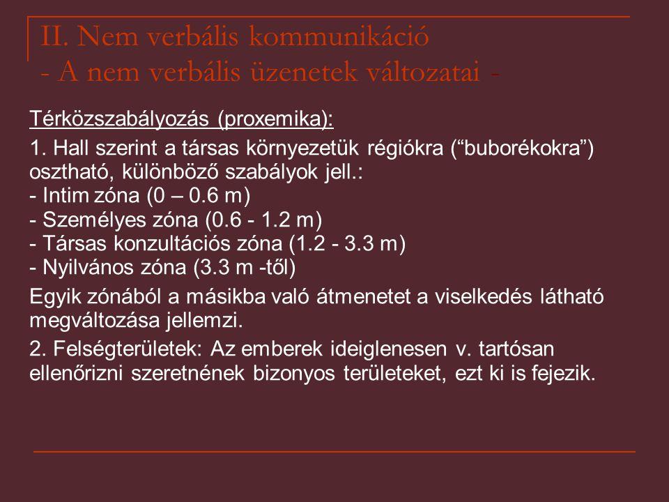 """II. Nem verbális kommunikáció - A nem verbális üzenetek változatai - Térközszabályozás (proxemika): 1. Hall szerint a társas környezetük régiókra (""""bu"""