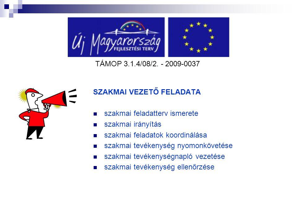 TÁMOP 3.1.4/08/2. - 2009-0037 SZAKMAI VEZETŐ FELADATA szakmai feladatterv ismerete szakmai irányítás szakmai feladatok koordinálása szakmai tevékenysé