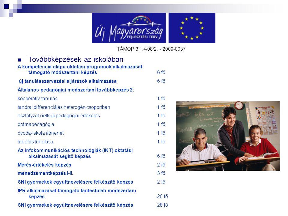 TÁMOP 3.1.4/08/2. - 2009-0037 Továbbképzések az iskolában A kompetencia alapú oktatási programok alkalmazását támogató módszertani képzés6 fő új tanul