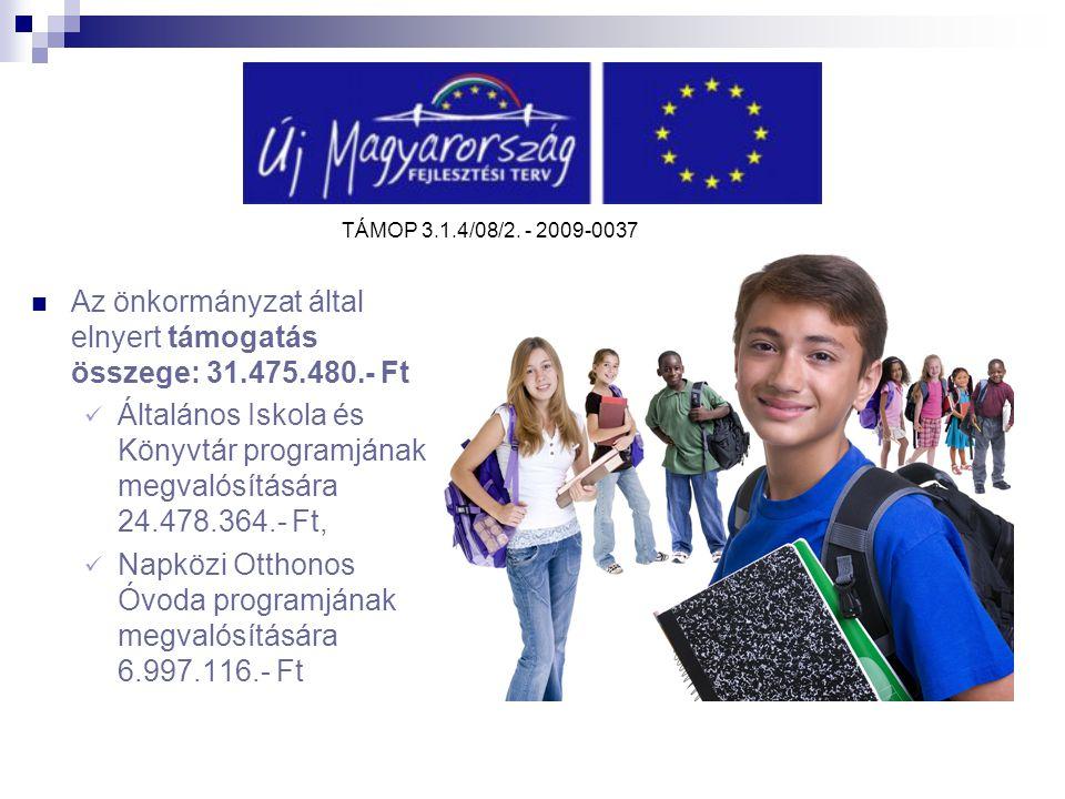 Az önkormányzat által elnyert támogatás összege: 31.475.480.- Ft Általános Iskola és Könyvtár programjának megvalósítására 24.478.364.- Ft, Napközi Ot