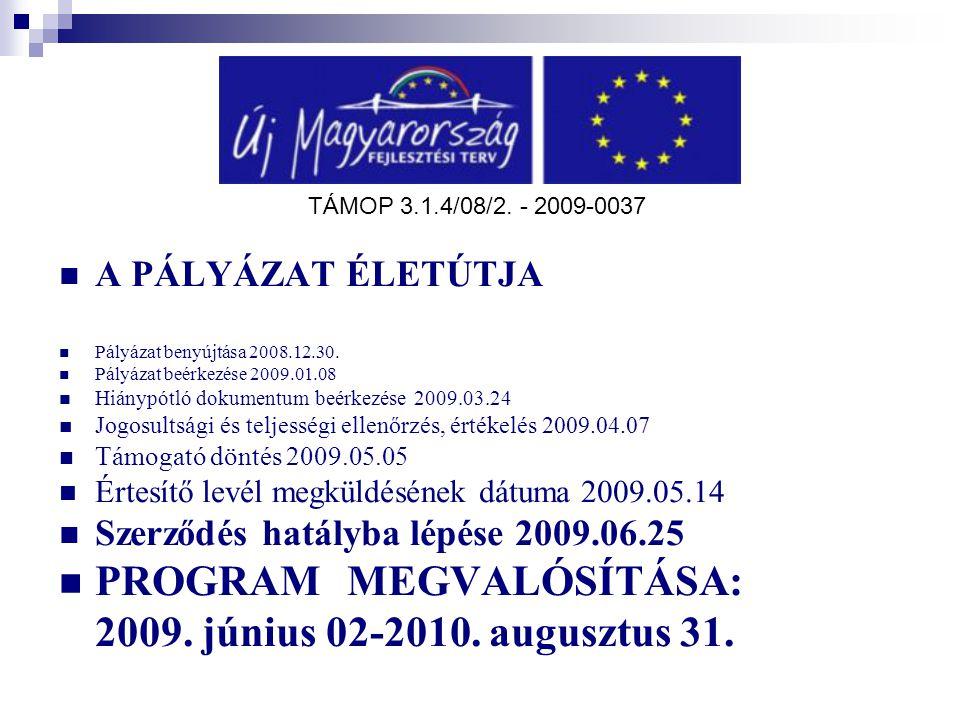A PÁLYÁZAT ÉLETÚTJA Pályázat benyújtása 2008.12.30. Pályázat beérkezése 2009.01.08 Hiánypótló dokumentum beérkezése 2009.03.24 Jogosultsági és teljess