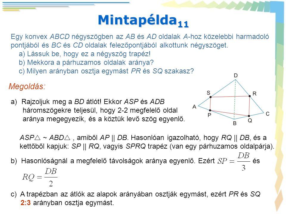 Mintapélda 11 Egy konvex ABCD négyszögben az AB és AD oldalak A-hoz közelebbi harmadoló pontjából és BC és CD oldalak felezőpontjából alkottunk négysz