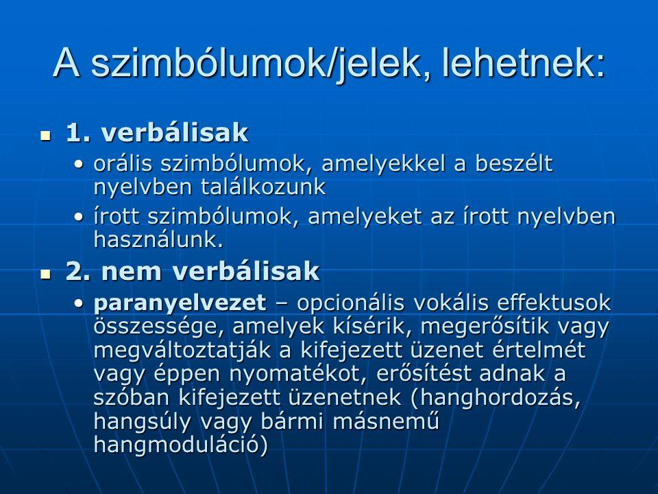 A szimbólumok/jelek, lehetnek: 1. verbálisak 1. verbálisak orális szimbólumok, amelyekkel a beszélt nyelvben találkozunkorális szimbólumok, amelyekkel