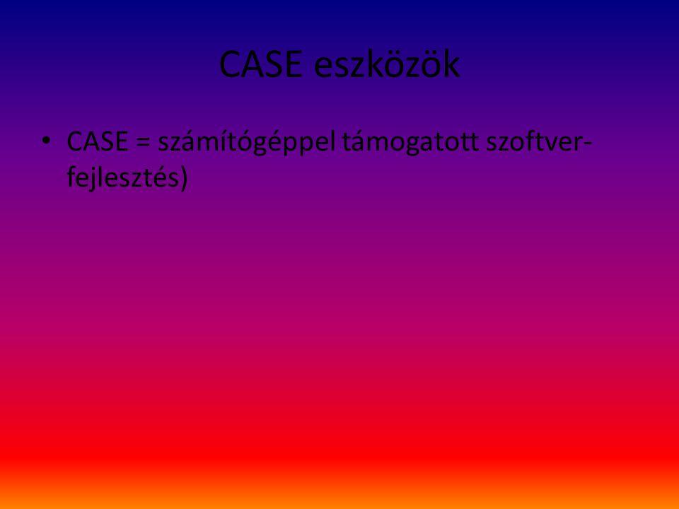 CASE eszközök CASE = számítógéppel támogatott szoftver- fejlesztés)