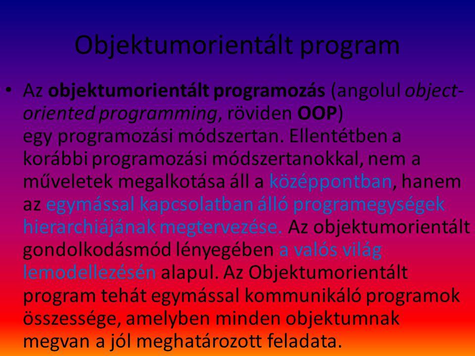 Objektumorientált program Az objektumorientált programozás (angolul object- oriented programming, röviden OOP) egy programozási módszertan.