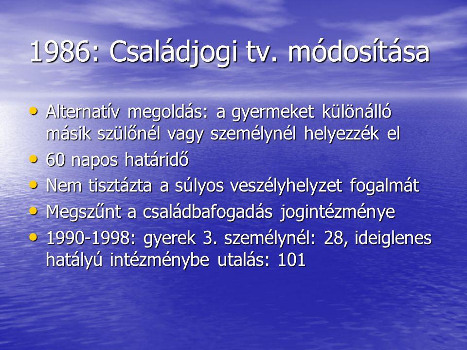1986: Családjogi tv. módosítása Alternatív megoldás: a gyermeket különálló másik szülőnél vagy személynél helyezzék el Alternatív megoldás: a gyermeke