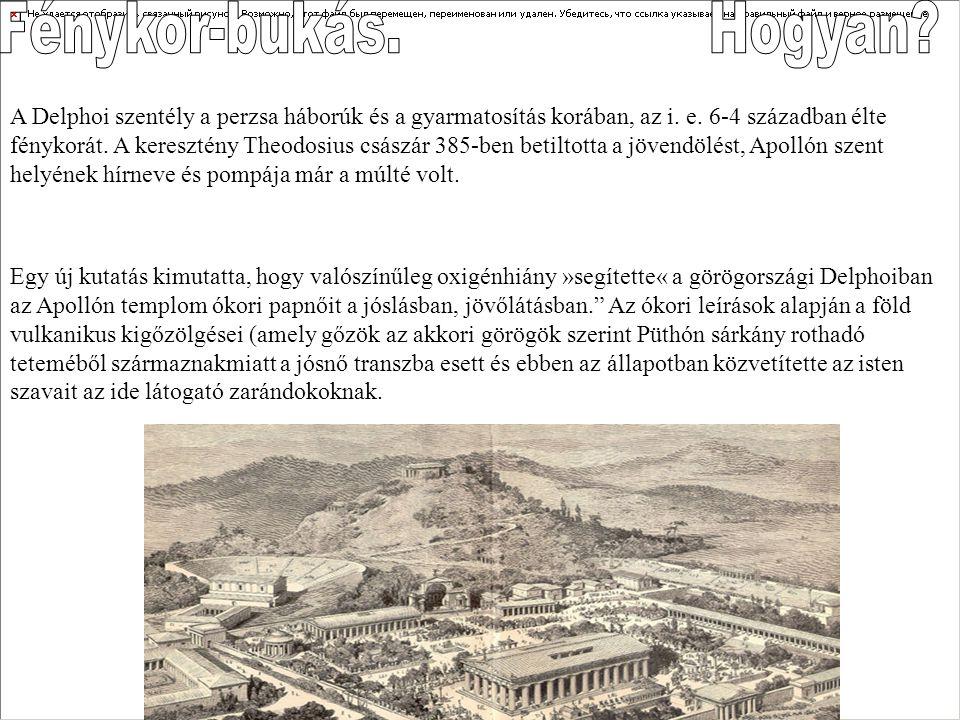 A Delphoi szentély a perzsa háborúk és a gyarmatosítás korában, az i. e. 6-4 században élte fénykorát. A keresztény Theodosius császár 385-ben betilto