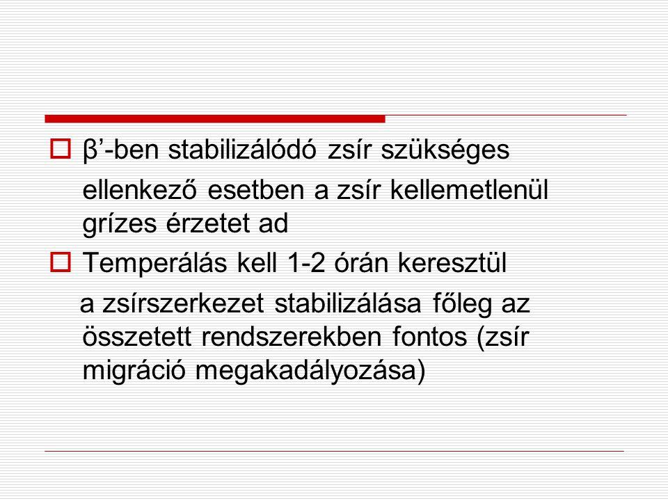  β'-ben stabilizálódó zsír szükséges ellenkező esetben a zsír kellemetlenül grízes érzetet ad  Temperálás kell 1-2 órán keresztül a zsírszerkezet stabilizálása főleg az összetett rendszerekben fontos (zsír migráció megakadályozása)
