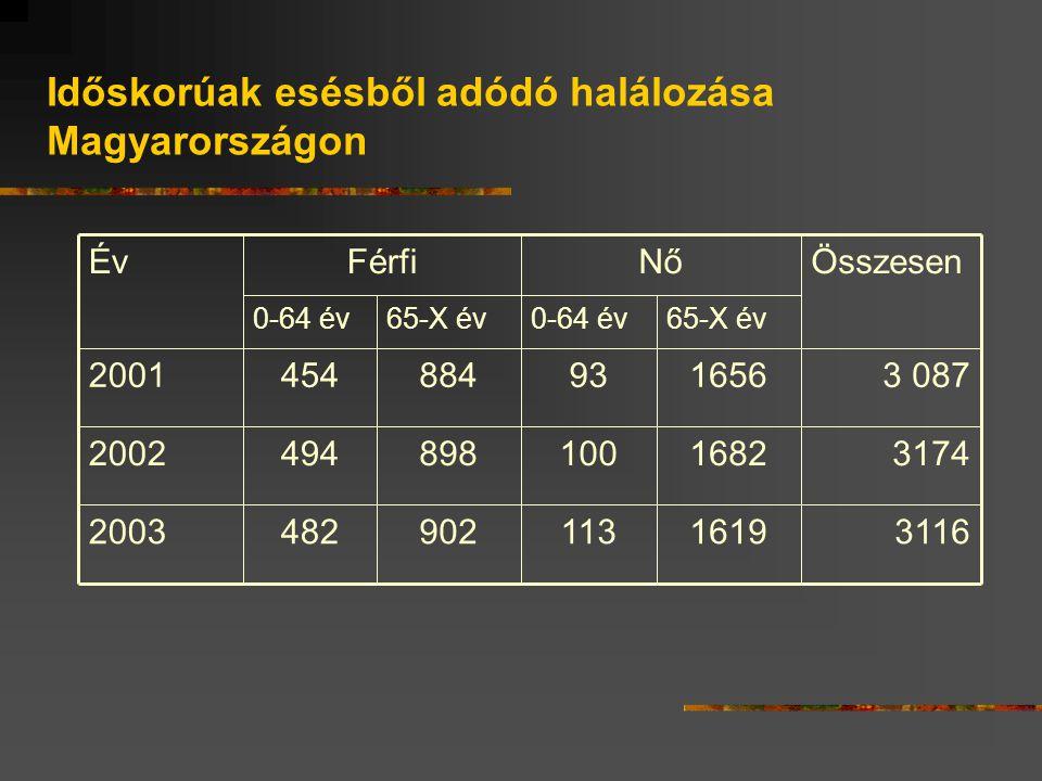 Időskorúak esésből adódó halálozása Magyarországon 311616191139024822003 317416821008984942002 3 0871656938844542001 65-X év0-64 év65-X év0-64 év ÖsszesenNőFérfiÉv