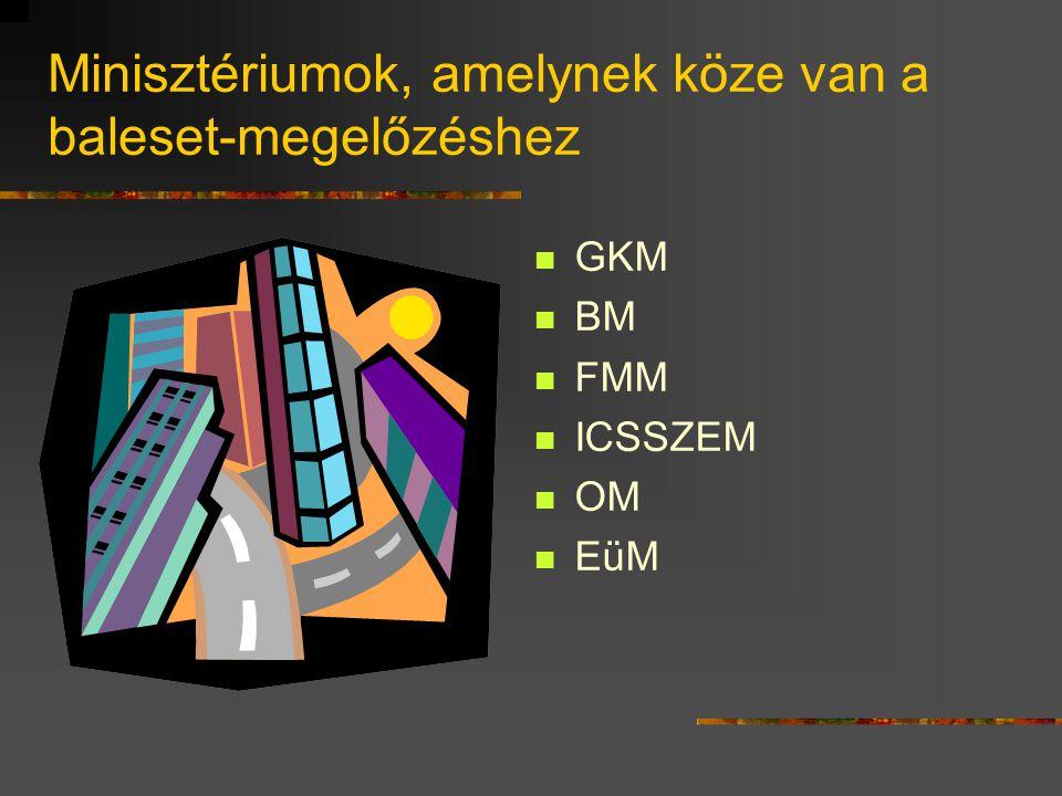 Minisztériumok, amelynek köze van a baleset-megelőzéshez GKM BM FMM ICSSZEM OM EüM