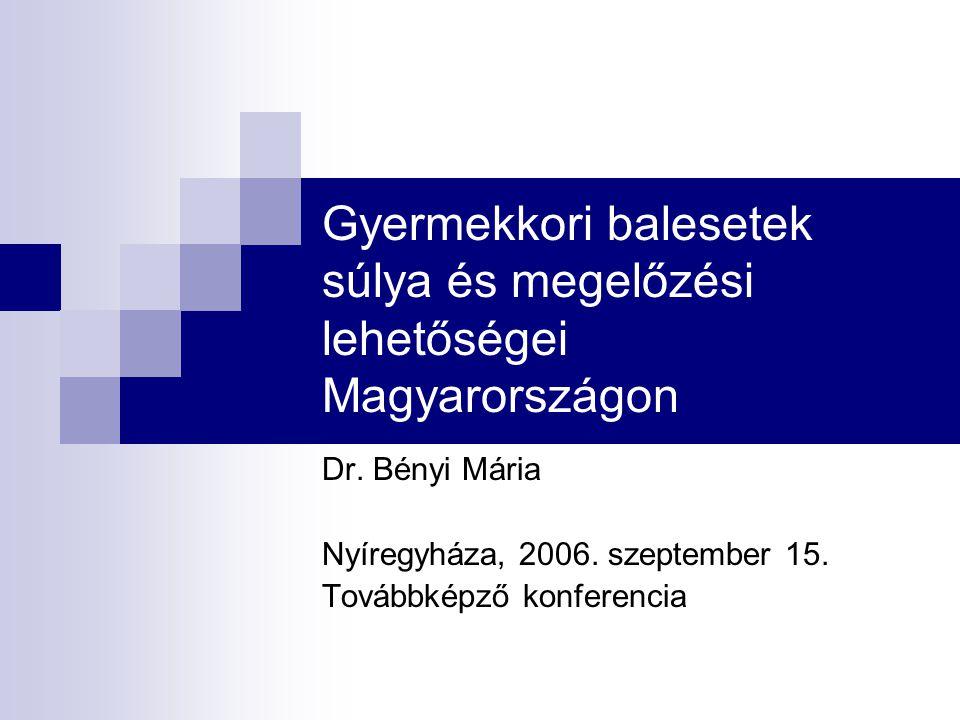 Gyermekkori balesetek súlya és megelőzési lehetőségei Magyarországon Dr. Bényi Mária Nyíregyháza, 2006. szeptember 15. Továbbképző konferencia