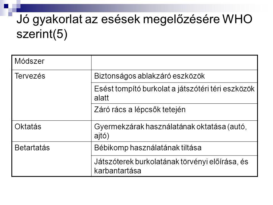 Jó gyakorlat az esések megelőzésére WHO szerint(5) Módszer TervezésBiztonságos ablakzáró eszközök Esést tompító burkolat a játszótéri téri eszközök al