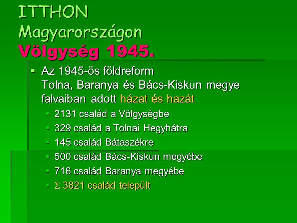 ITTHON Magyarországon Völgység 1945.  Az 1945-ös földreform Tolna, Baranya és Bács-Kiskun megye falvaiban adott házat és hazát  2131 család a Völgys
