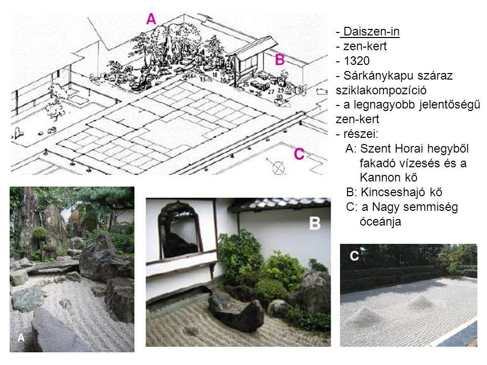 C - Daiszen-in - zen-kert - 1320 - Sárkánykapu száraz sziklakompozíció - a legnagyobb jelentőségű zen-kert - részei: A: Szent Horai hegyből fakadó vízesés és a Kannon kő B: Kincseshajó kő C: a Nagy semmiség óceánja