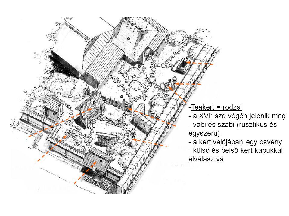 -Teakert = rodzsi - a XVI: szd végén jelenik meg - vabi és szabi (rusztikus és egyszerű) - a kert valójában egy ösvény - külső és belső kert kapukkal elválasztva