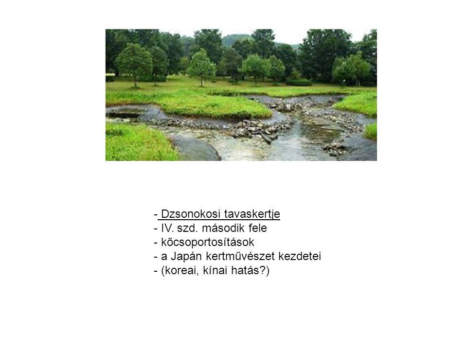 - Szambó-in tó - a víz a japán kultúrában a pillanat és az örökkévalóság jelképe - a szárazkertek kivételével szinte minden japán kertben megtalálható a víz - a tavakban gyakran jelennek meg szigetek (daru vagy teknős sziget) - rendszerint csekély medrű tavak -> színes díszpontyok