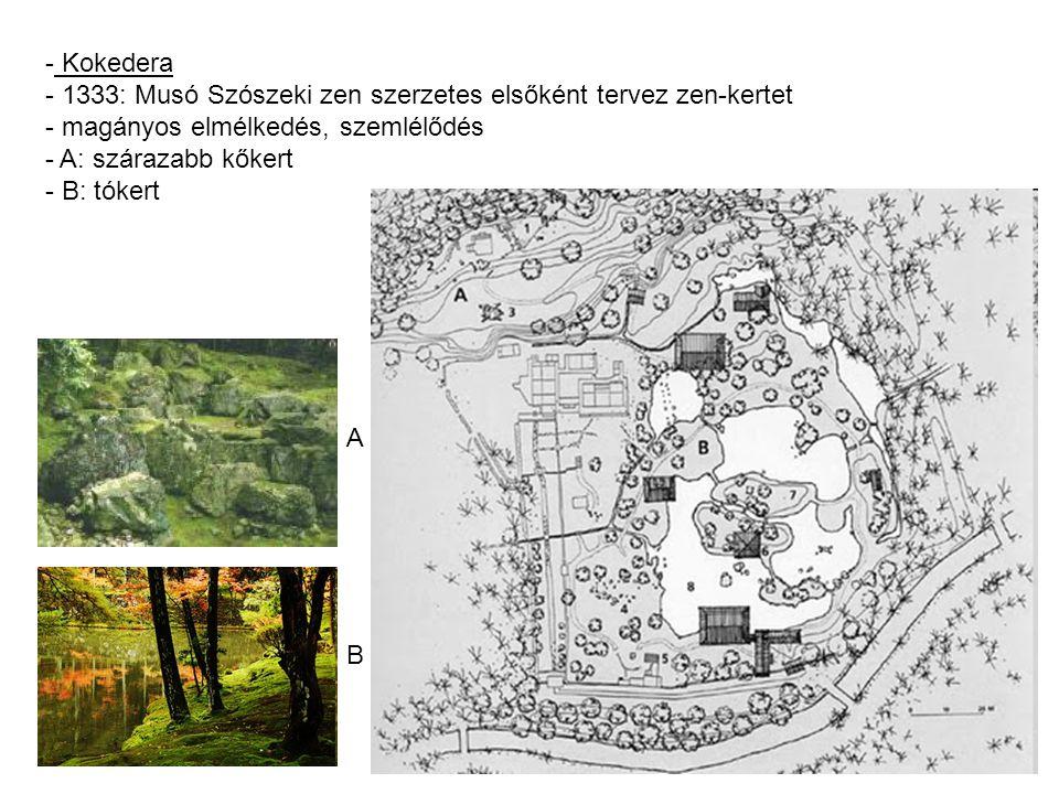 - Koshikawa Korakuen - tokiói sétakert - Edo korszak - részei többek között: - Teaház - Pagoda - Szilvaliget - Kínai, vörös híd - Szárazfolyó