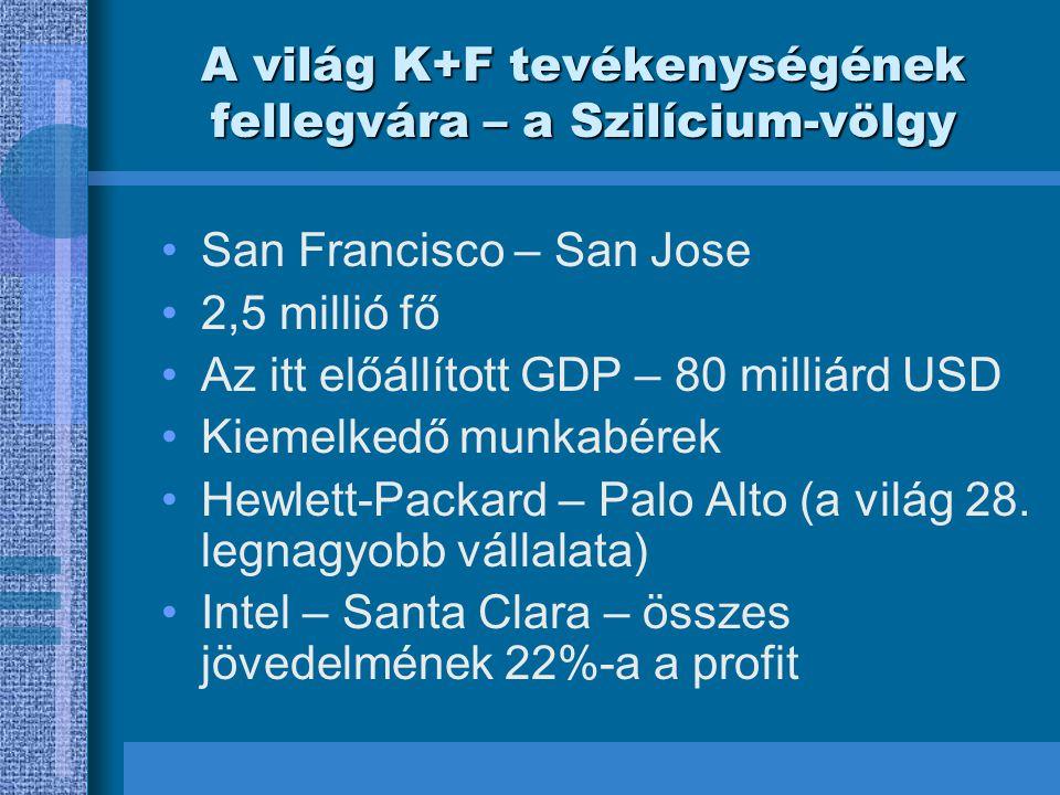A világ K+F tevékenységének fellegvára – a Szilícium-völgy San Francisco – San Jose 2,5 millió fő Az itt előállított GDP – 80 milliárd USD Kiemelkedő munkabérek Hewlett-Packard – Palo Alto (a világ 28.