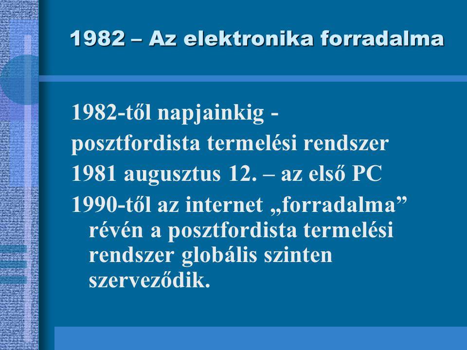 1982 – Az elektronika forradalma 1982-től napjainkig - posztfordista termelési rendszer 1981 augusztus 12.