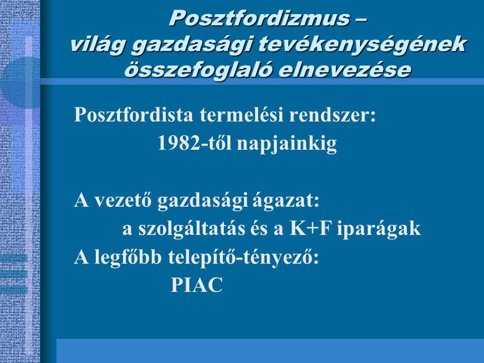 Posztfordizmus – világ gazdasági tevékenységének összefoglaló elnevezése Posztfordista termelési rendszer: 1982-től napjainkig A vezető gazdasági ágazat: a szolgáltatás és a K+F iparágak A legfőbb telepítő-tényező: PIAC