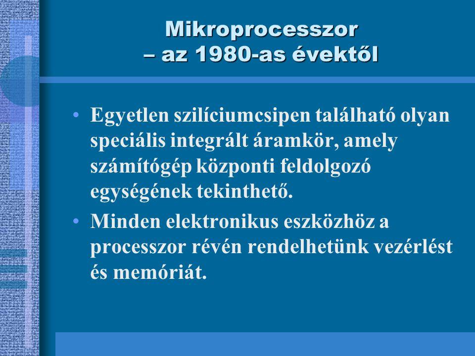 Mikroprocesszor – az 1980-as évektől Egyetlen szilíciumcsipen található olyan speciális integrált áramkör, amely számítógép központi feldolgozó egységének tekinthető.