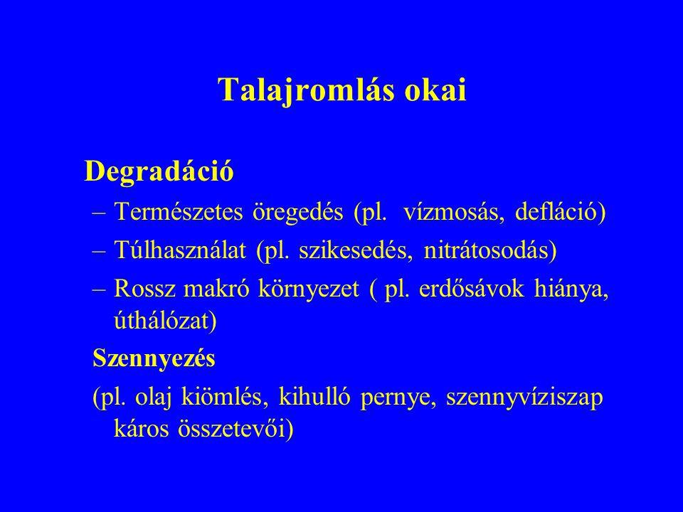 Talajvédelmi feladatok a környezetvédelemben Megelőzés (pl.