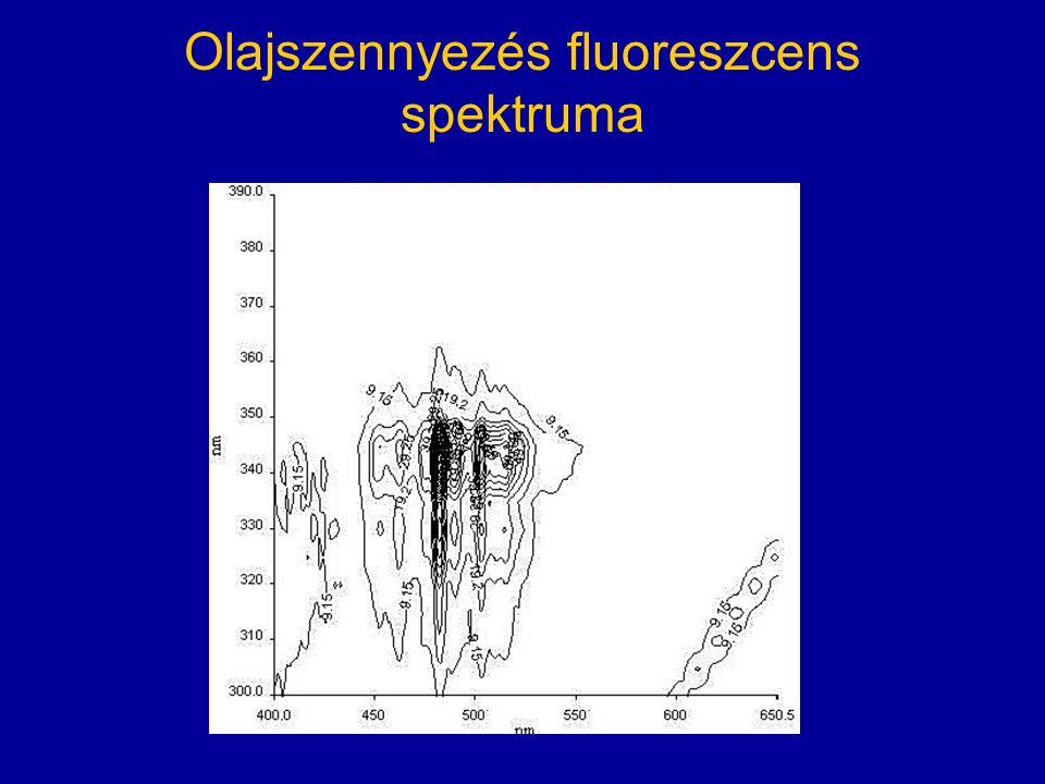 Olajszennyezés fluoreszcens spektruma
