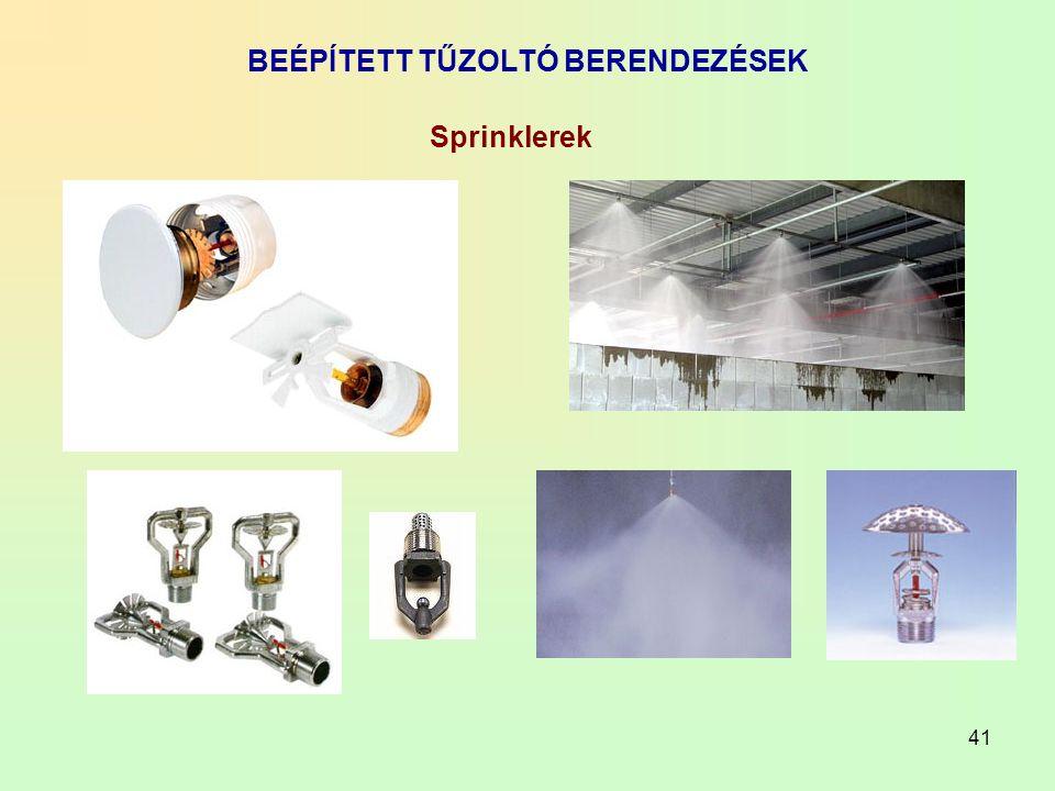 41 BEÉPÍTETT TŰZOLTÓ BERENDEZÉSEK Sprinklerek