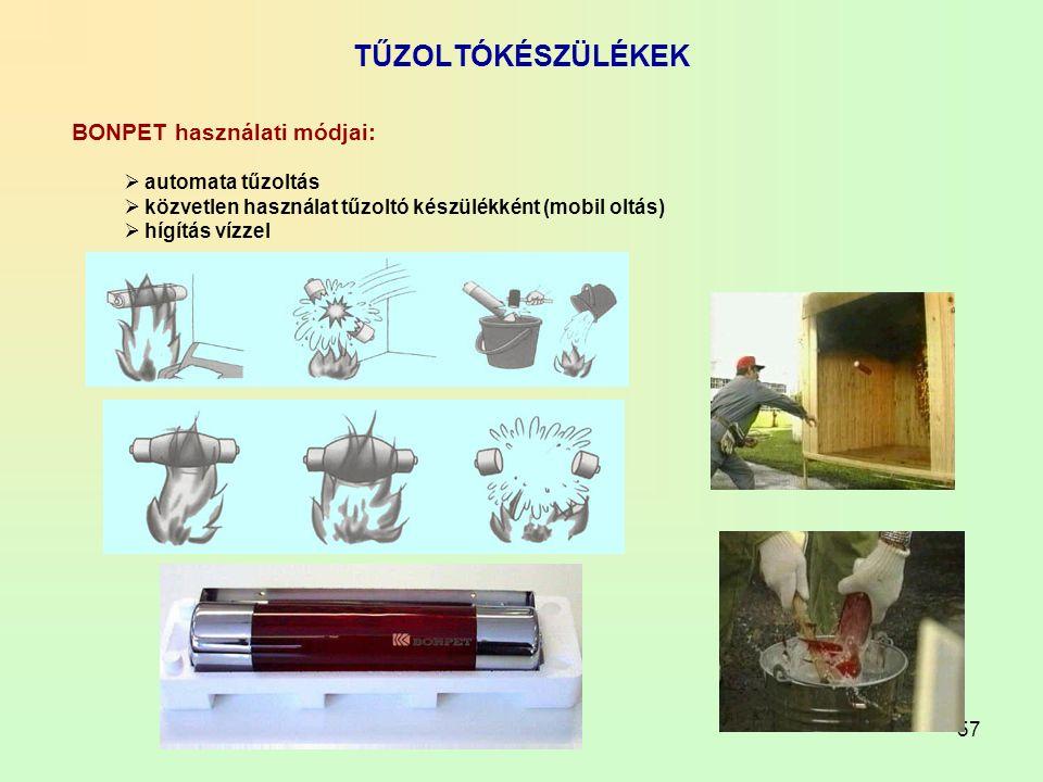 57 TŰZOLTÓKÉSZÜLÉKEK BONPET használati módjai:  automata tűzoltás  közvetlen használat tűzoltó készülékként (mobil oltás)  hígítás vízzel