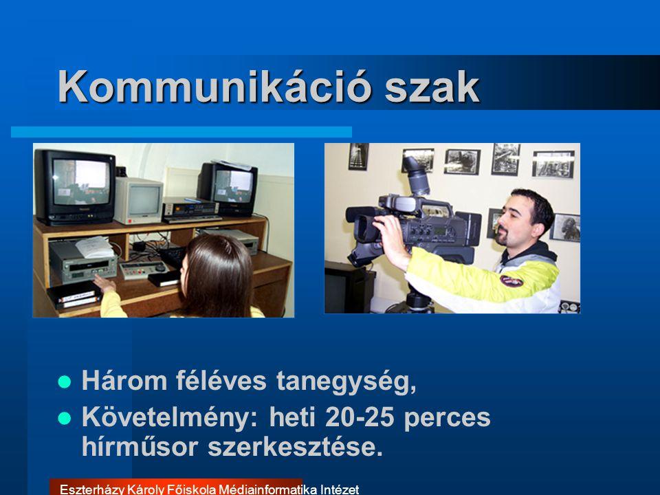 Eszterházy Károly Főiskola Médiainformatika Intézet Kommunikáció szak Három féléves tanegység, Követelmény: heti 20-25 perces hírműsor szerkesztése.