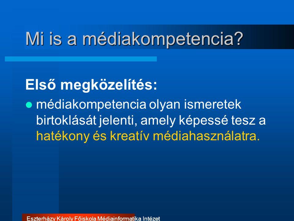 Eszterházy Károly Főiskola Médiainformatika Intézet A médiakompetencia szintjei Más szemlélet szerint a poszt- indusztriális társadalom polgára számára alapvető feladat a média megértésének és értelmes használatának a képessége.