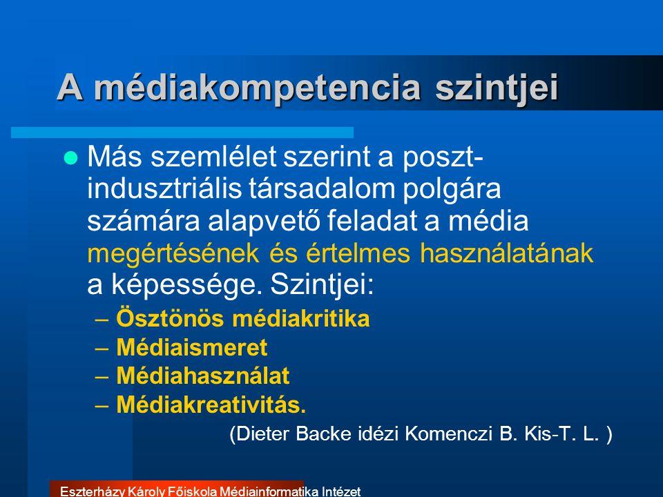 Eszterházy Károly Főiskola Médiainformatika Intézet A médiakompetencia szintjei Más szemlélet szerint a poszt- indusztriális társadalom polgára számár
