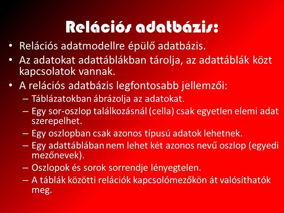 Relációs adatbázis: Relációs adatmodellre épülő adatbázis. Az adatokat adattáblákban tárolja, az adattáblák közt kapcsolatok vannak. A relációs adatbá