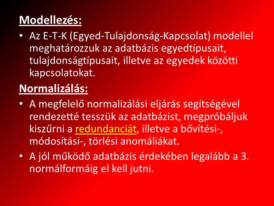 Modellezés: Az E-T-K (Egyed-Tulajdonság-Kapcsolat) modellel meghatározzuk az adatbázis egyedtípusait, tulajdonságtípusait, illetve az egyedek közötti