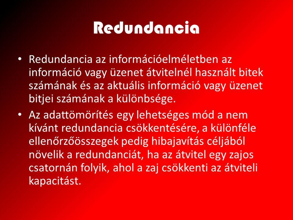 Redundancia Redundancia az információelméletben az információ vagy üzenet átvitelnél használt bitek számának és az aktuális információ vagy üzenet bit