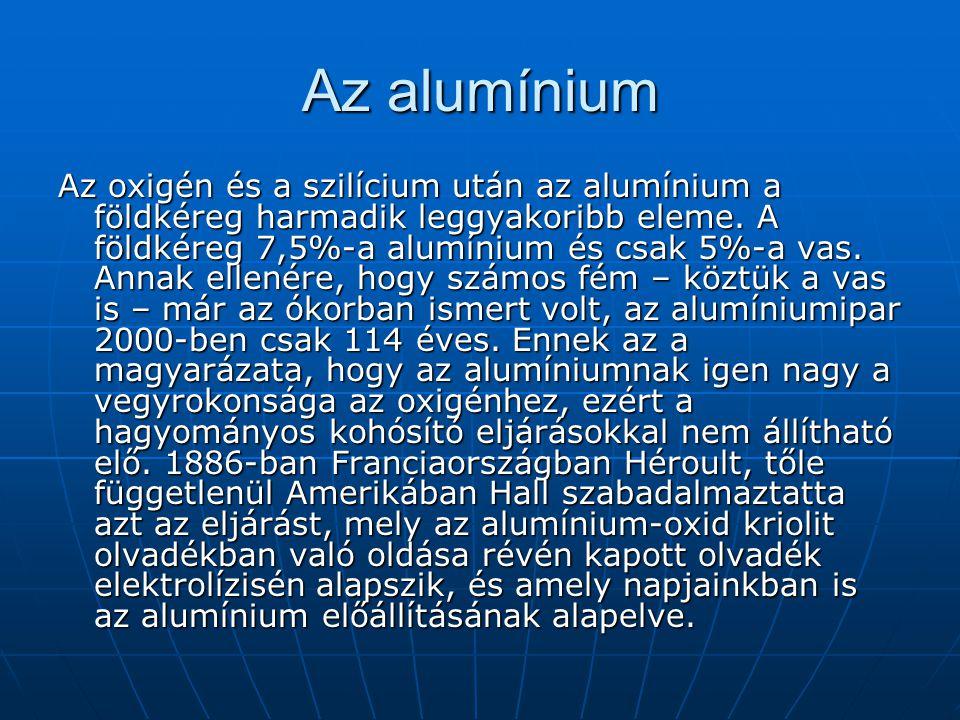 Az alumínium Az oxigén és a szilícium után az alumínium a földkéreg harmadik leggyakoribb eleme. A földkéreg 7,5%-a alumínium és csak 5%-a vas. Annak