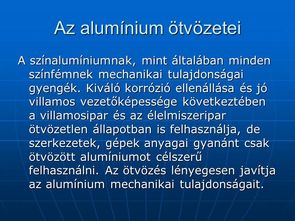 Az alumínium ötvözetei A színalumíniumnak, mint általában minden színfémnek mechanikai tulajdonságai gyengék. Kiváló korrózió ellenállása és jó villam