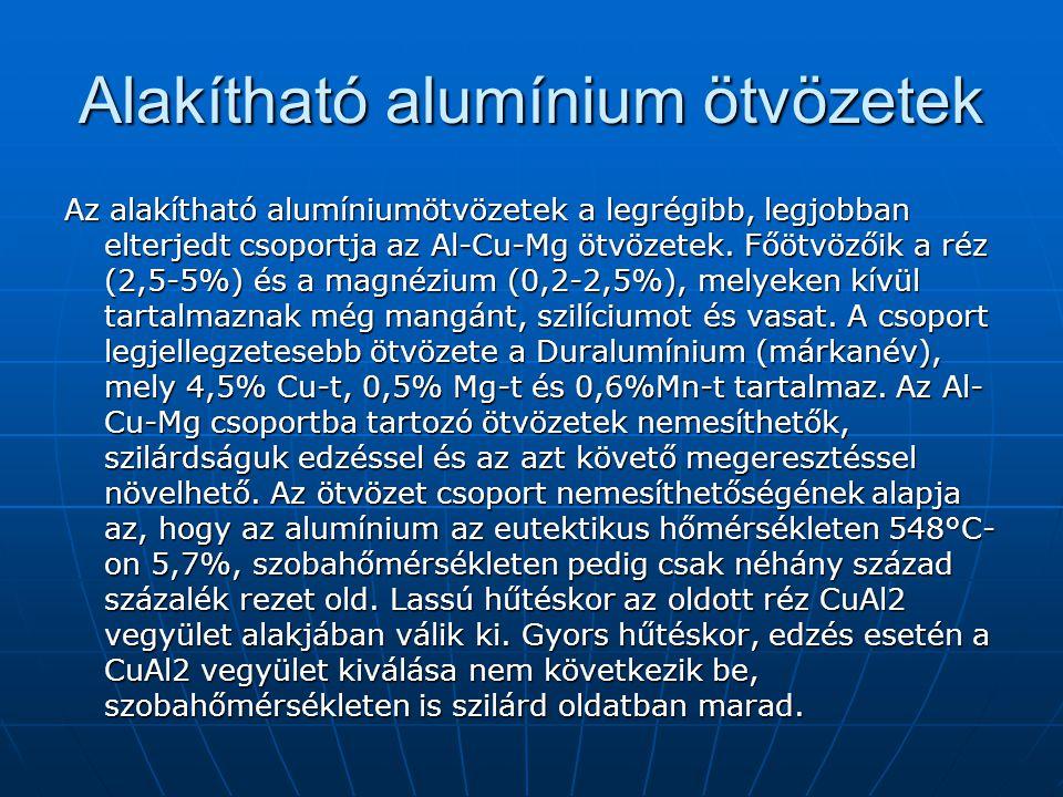 Alakítható alumínium ötvözetek Az alakítható alumíniumötvözetek a legrégibb, legjobban elterjedt csoportja az Al-Cu-Mg ötvözetek. Főötvözőik a réz (2,