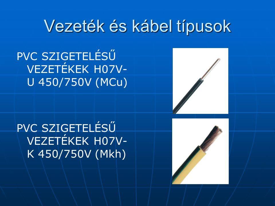 Vezeték és kábel típusok PVC SZIGETELÉSŰ VEZETÉKEK H07V- U 450/750V (MCu) PVC SZIGETELÉSŰ VEZETÉKEK H07V- K 450/750V (Mkh)
