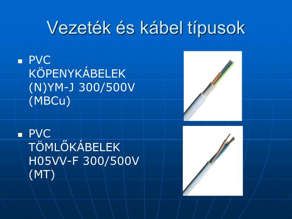 Vezeték és kábel típusok PVC KÖPENYKÁBELEK (N)YM-J 300/500V (MBCu) PVC TÖMLŐKÁBELEK H05VV-F 300/500V (MT)