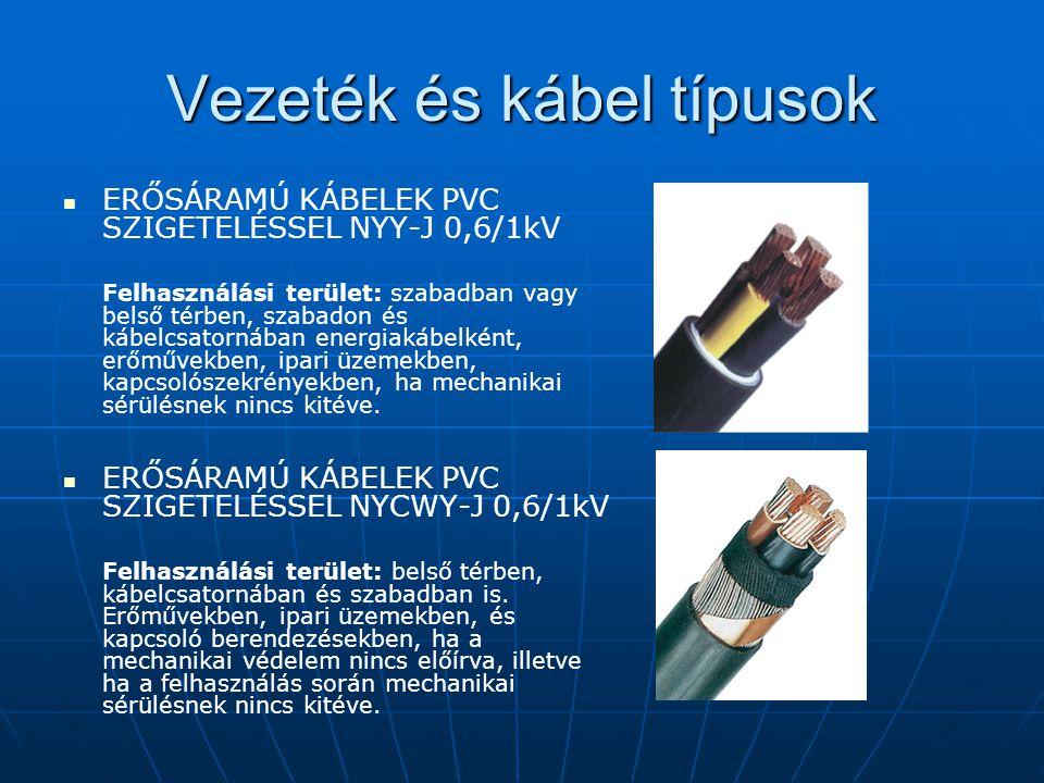 Vezeték és kábel típusok ERŐSÁRAMÚ KÁBELEK PVC SZIGETELÉSSEL NYY-J 0,6/1kV Felhasználási terület: szabadban vagy belső térben, szabadon és kábelcsator