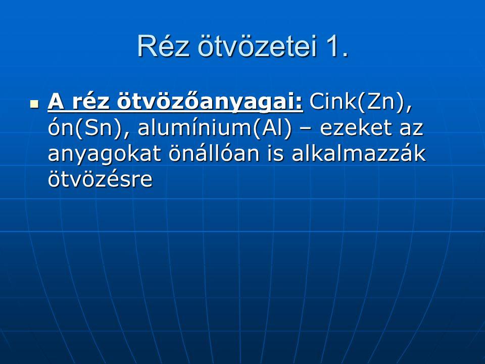 Réz ötvözetei 1. A réz ötvözőanyagai: Cink(Zn), ón(Sn), alumínium(Al) – ezeket az anyagokat önállóan is alkalmazzák ötvözésre A réz ötvözőanyagai: Cin