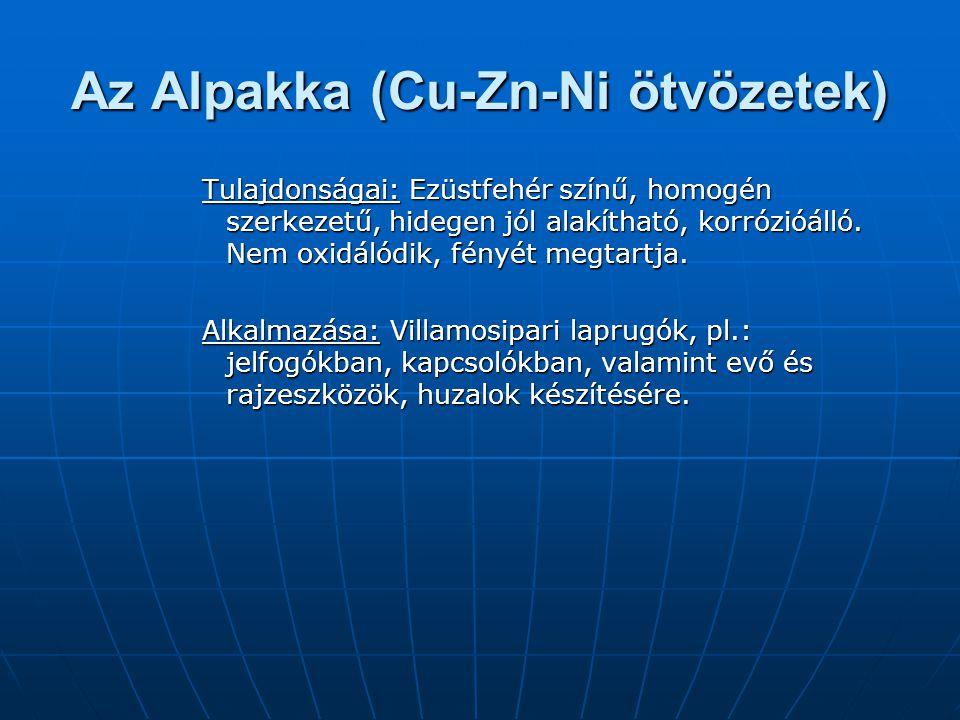 Az Alpakka (Cu-Zn-Ni ötvözetek) Tulajdonságai: Ezüstfehér színű, homogén szerkezetű, hidegen jól alakítható, korrózióálló. Nem oxidálódik, fényét megt