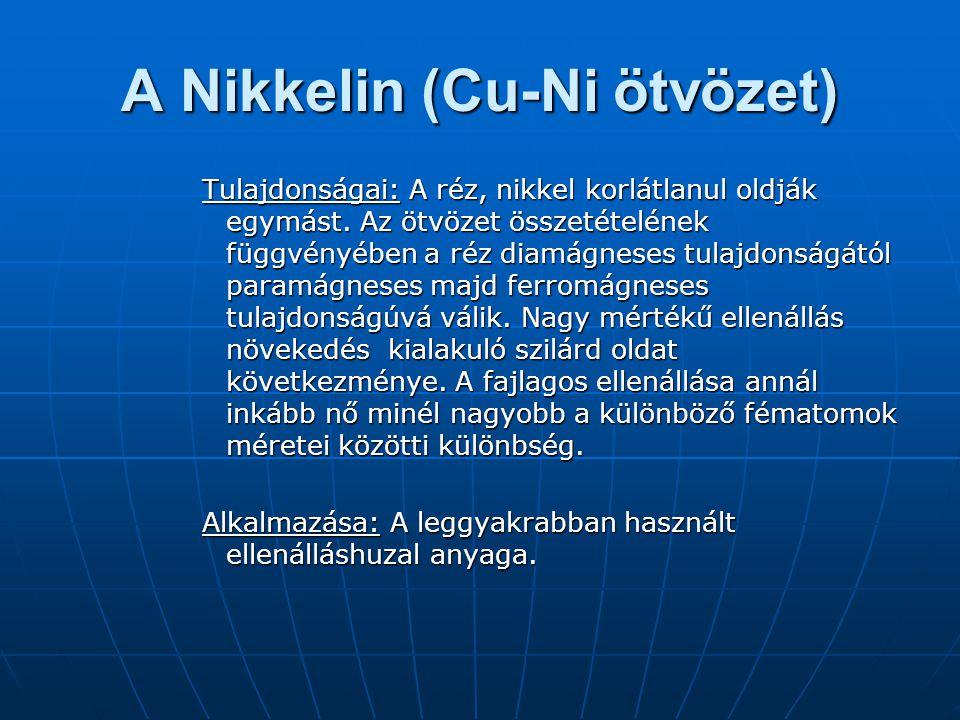 A Nikkelin (Cu-Ni ötvözet) Tulajdonságai: A réz, nikkel korlátlanul oldják egymást. Az ötvözet összetételének függvényében a réz diamágneses tulajdons