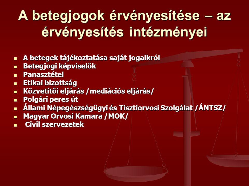 A betegjogok érvényesítése – az érvényesítés intézményei A betegek tájékoztatása saját jogaikról A betegek tájékoztatása saját jogaikról Betegjogi képviselők Betegjogi képviselők Panasztétel Panasztétel Etikai bizottság Etikai bizottság Közvetítői eljárás /mediációs eljárás/ Közvetítői eljárás /mediációs eljárás/ Polgári peres út Polgári peres út Állami Népegészségügyi és Tisztiorvosi Szolgálat /ÁNTSZ/ Állami Népegészségügyi és Tisztiorvosi Szolgálat /ÁNTSZ/ Magyar Orvosi Kamara /MOK/ Magyar Orvosi Kamara /MOK/ Civil szervezetek Civil szervezetek