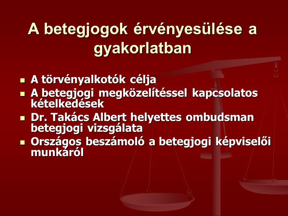 A betegjogok érvényesülése a gyakorlatban A törvényalkotók célja A törvényalkotók célja A betegjogi megközelítéssel kapcsolatos kételkedések A betegjogi megközelítéssel kapcsolatos kételkedések Dr.