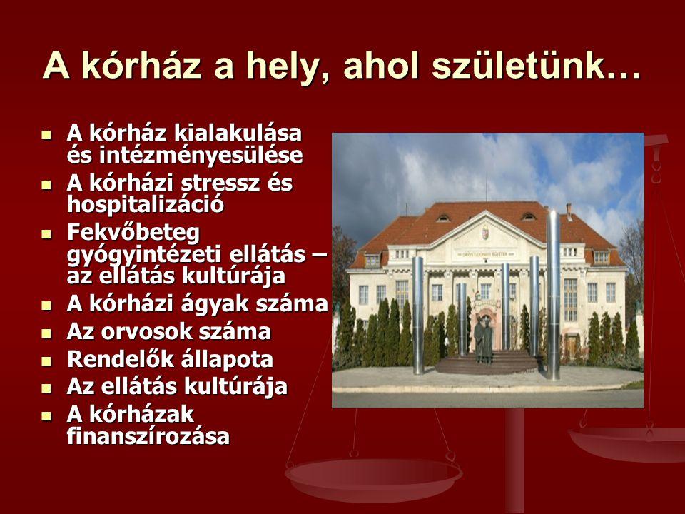 A kórház a hely, ahol születünk… A kórház kialakulása és intézményesülése A kórház kialakulása és intézményesülése A kórházi stressz és hospitalizáció