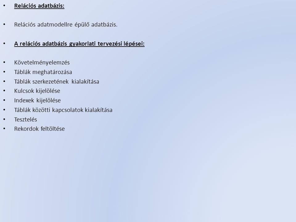 Relációs adatbázis: Relációs adatmodellre épülő adatbázis.